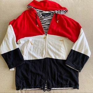 NWT Escada Sport full zip hoodie striped oversized